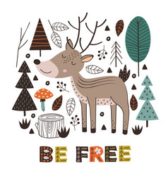 poster deer in forest scandinavian style vector image