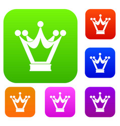 princess crown set color collection vector image