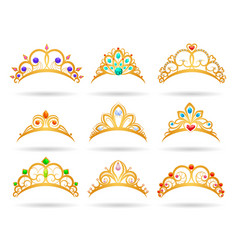 Princess golden tiaras with diamonds vector