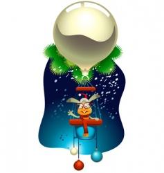 rabbit flying a magic balloon vector image vector image