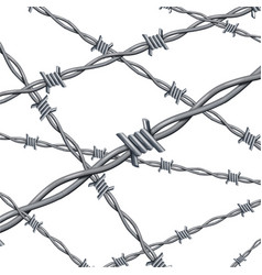 Realistic 3d detailed barbed wire line background vector