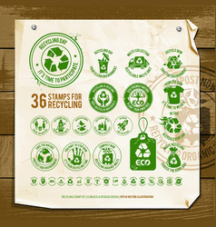 Recycling symbols on textured paper vector