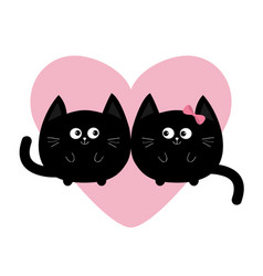 round shape black cat icon love family couple vector image