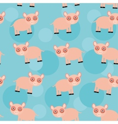 Seamless pattern with funny cute animal pig on a vector image