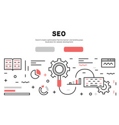 search engine optimization flat line banner vector image