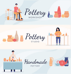 Set banners with pottery making people vector
