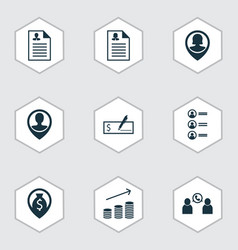 Set of 9 hr icons includes money navigation job vector