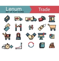Set of thin line icons on trade theme 20 icons vector image