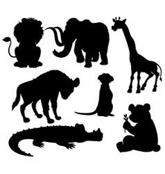 set silhouette wild animal vector image
