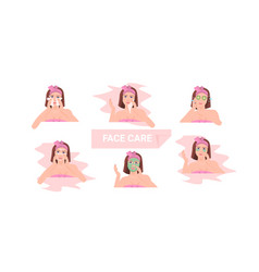 Set young woman applying different face masks girl vector