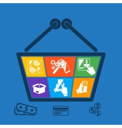 Shopping basket with icons of online e-commerce vector