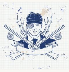Sketch hunter man with beard vector