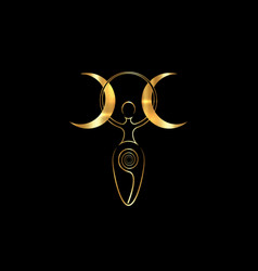 Spiral goddess fertility and triple moon wiccan vector