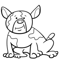 Spotted dog cartoon coloring page vector