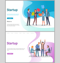 Startup people with puzzles teamwork web set vector