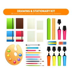 Stationary kit supplies for drawing and writing vector