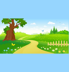 Summer forest path vector