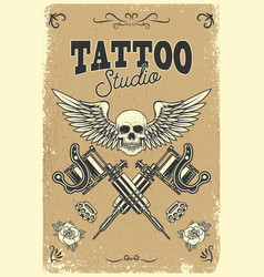 Tattoo studio poster template winged skull with vector