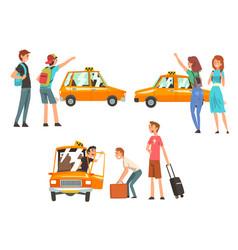 Taxi service set city transportation clients vector
