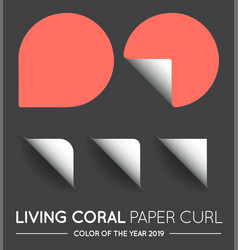 trendy color coral round circle with paper curl vector image