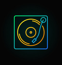 Turntable colored icon in thin line style vector