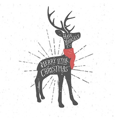 Vintage Christmas greeting card with reindeer vector