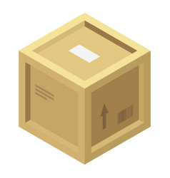 wood parcel box icon isometric style vector image