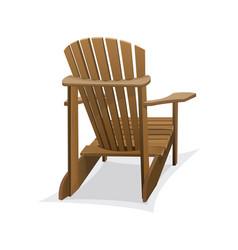 Wooden beach chair vector