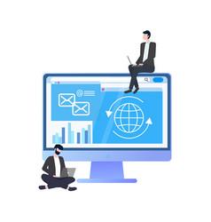 worker with computer in suit workteam vector image