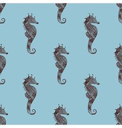 Zentangle stylized black Sea Horse seamless vector image