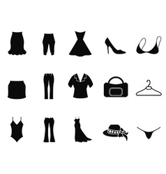 black woman fashion icons set vector image