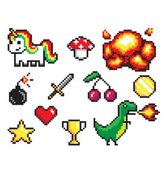 collection of pixel objects vector image