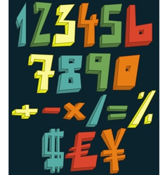 colorful 3d numbers vector image