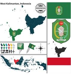 Map of West Kalimantan vector image vector image