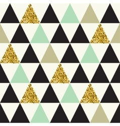 Seamless pattern with gold glitter triangles vector image vector image