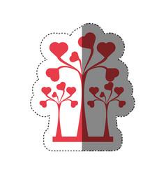Trees heart decorative shadow vector