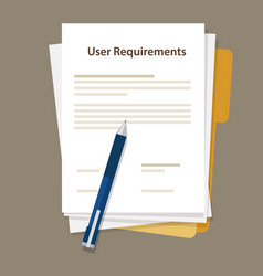 user requirements specifications document paper vector image vector image