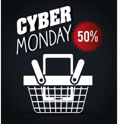 basket discount cyber monday black background vector image
