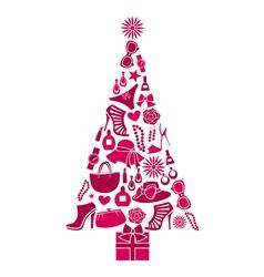 Fashion Christmas Tree vector image