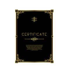 golden frame certificate template vector image
