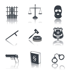 Law and justice icons black vector image