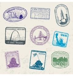 Mail travel stamps with usa city symbols vector
