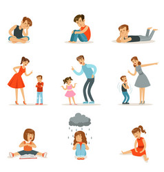 mutual relations of parents and children mom and vector image