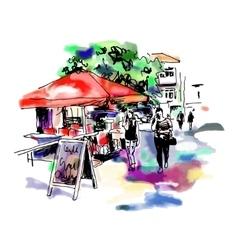original digital sketch watercolor of Kyiv street vector image