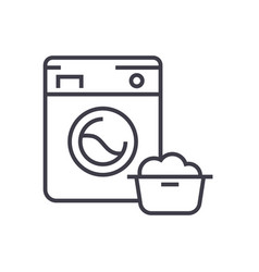 washing machinelaundry service line icon vector image