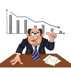Angry boss with descending diagram behind vector image