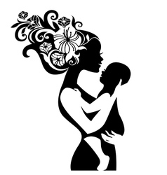 Beautiful mother silhouette with her baby vector image