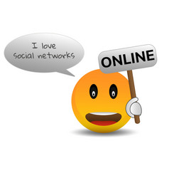 happy icon online chat online in the vector image