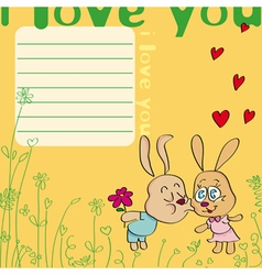 i love you card with kissing rabbits vector image vector image