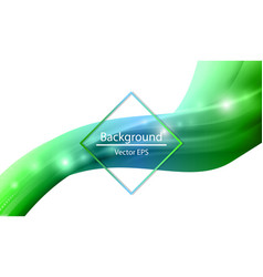 Shiny wave abstract background green color vector
